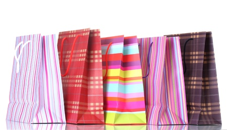 bright shopping bags isolated on white Stock Photo - 13666687