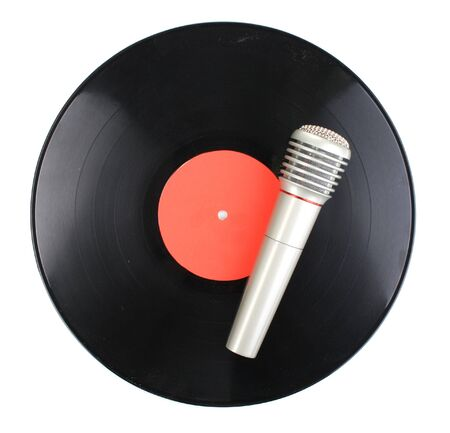 Black vinyl record and microphone isolated on white Stock Photo - 13664449