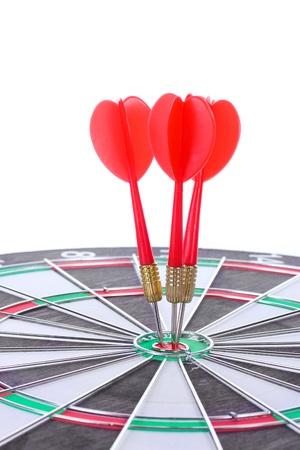 dart board with darts isolated on white Stock Photo - 13665891