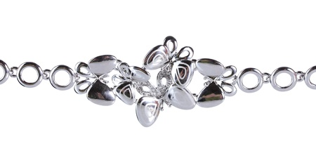 circlet: Beautiful silver bracelet with precious stones isolated on white