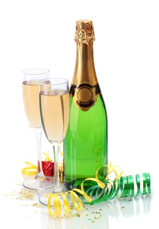 glasses and bottle of champagne, gifts and serpentine isolated on a white Stock Photo - 13665344