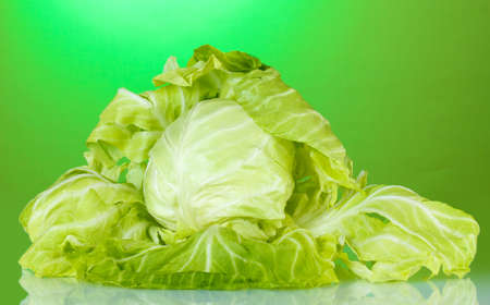 Cabbage on bright green background