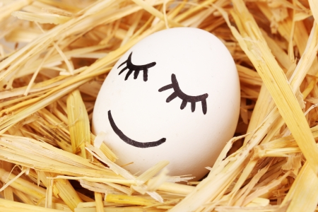 embarrassment: White egg with funny face in straw