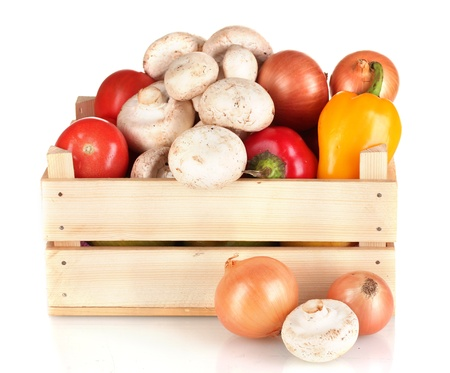 fresh vegetables in wooden box isolated on white Stock Photo - 13792084