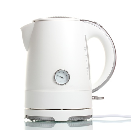 White electric kettle isolated on white photo