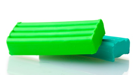 Children bright green plasticine isolated on white Stock Photo - 13790964