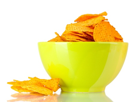 tasty potato chips in green  bowl isolated on white Stock Photo