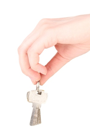 Keys in hand isolated on white Stock Photo - 13790862