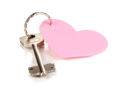 Key with heart-shaped charm isolated on white photo