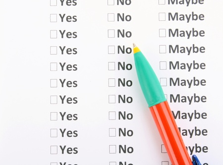 Yes, no or maybe cheklist close-up Stock Photo - 13790932