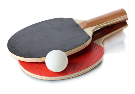 rackets and ball, isolated on white photo