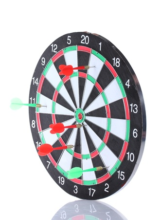 dart board with darts isolated on white Stock Photo - 13791301