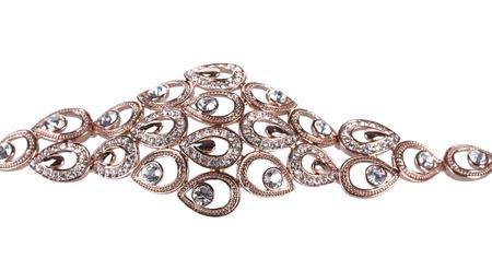 Beautiful golden bracelet with precious stones isolated on white Stock Photo - 13791364