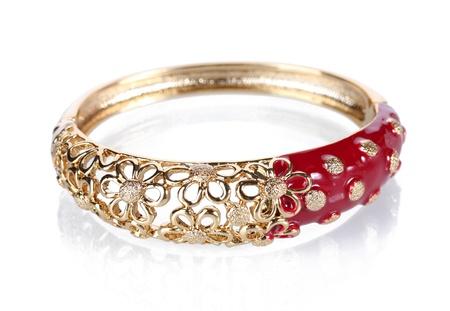 Beautiful golden bracelet isolated on white Stock Photo - 13791271