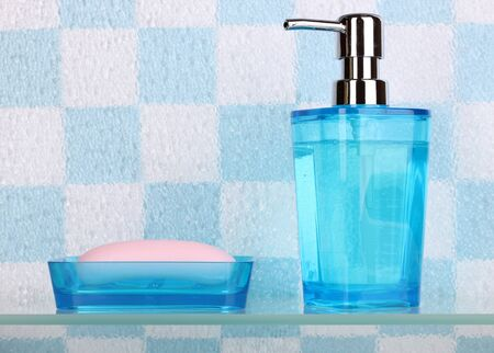 Bath accessories on shelf in bathroom Stock Photo - 13820431
