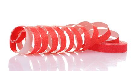 red streamer isolated on white