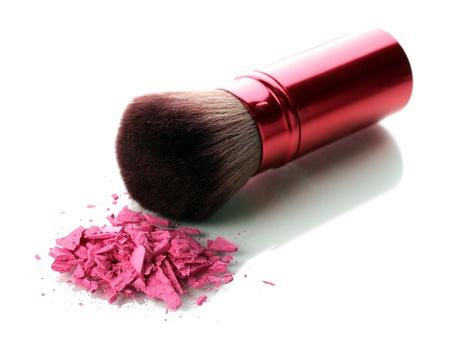 beautify: brush and blusher isolated on white Stock Photo