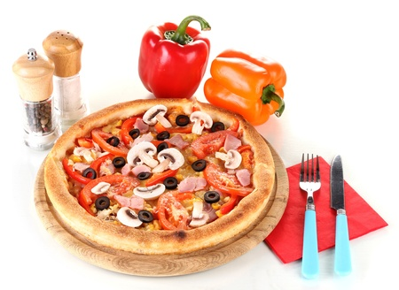 Aromatic pizza with vegetables isolated on white Stock Photo - 13820612