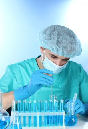 white glove test: scientist in the lab working with chemicals test-tubes Stock Photo