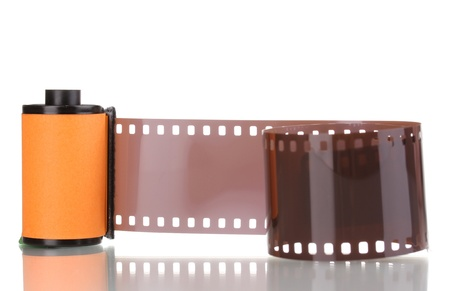 New photo film in cartridge isolated on white photo