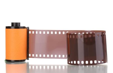 rollo fotogr�fico: Nueva pel�cula fotogr�fica en el cartucho aislado en blanco