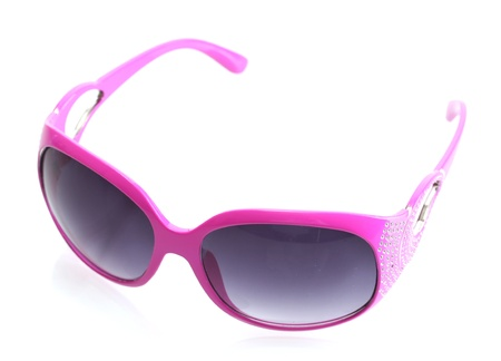 Women glamorous pink sunglasses isolated on white photo