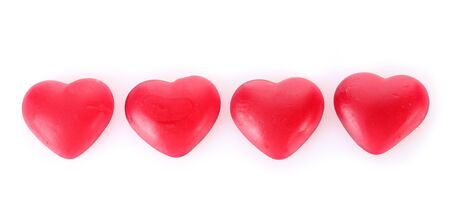 colo: red candy hearts isolated on white Stock Photo