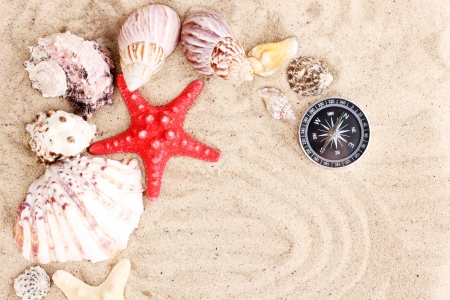 Seashells and starfish with kompass on sand photo