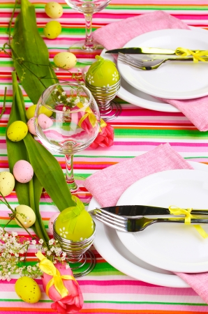 easter candle: Easter table setting Stock Photo