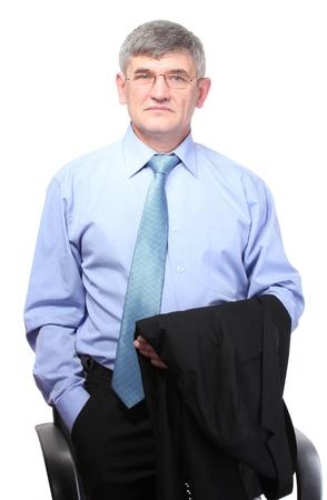 bata blanca: hombre de negocios aislados en blanco