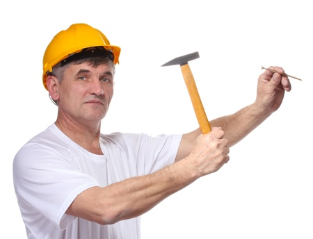 scored: builder scored a nail with a hammer isolated on white