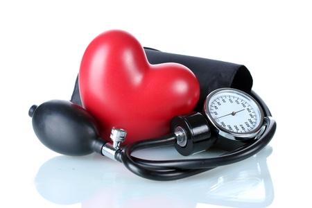 Tonómetro de negro y el corazón aislado en blanco