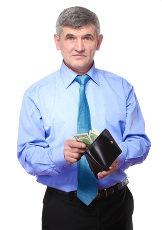believes: businessman believes the money isolated on white