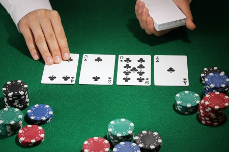 card game: Poker setting on green table