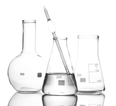One flask with water and two empty flasks with reflection isolated on white photo