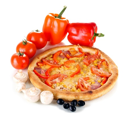 Aromatic pizza with vegetables and mushrooms isolated on white Stock Photo - 13878311