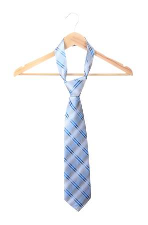 Elegant blue tie on wooden hanger isolated on white Stock Photo - 13878194