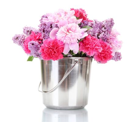 beautiful spring flowers in metal bucket isolated on white Stock Photo - 13901444