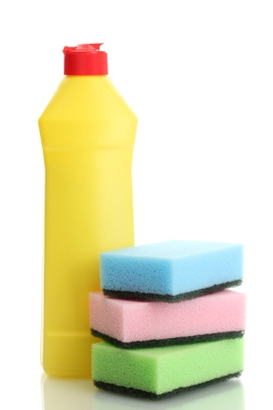 Dishwashing liquid and sponges isolated on white  Stock Photo - 13901464