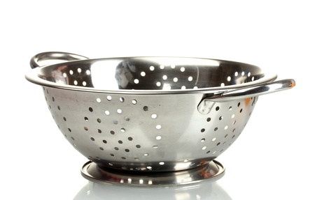 strainer: empty silver colander isolated on white Stock Photo