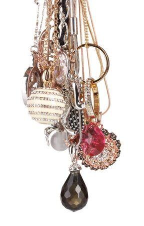 Many pendants isolated on white Stock Photo - 13901595