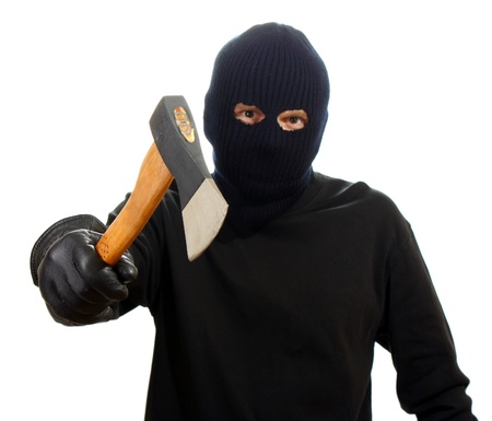 Ņhatchet: Bandit in black mask with hatchet isolated on white Stock Photo