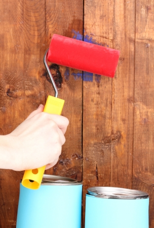 Painting wooden fence Stock Photo - 13922688