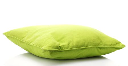 green bright pillow isolated on white photo
