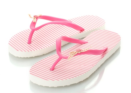 pink beach shoes isolated on white  photo