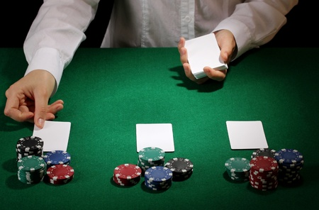 wager: Poker setting on green table