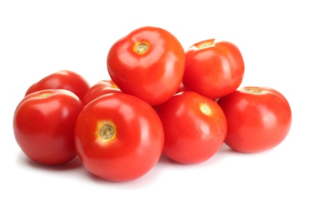 tomato plant: Ripe red tomatoes isolated on white Stock Photo