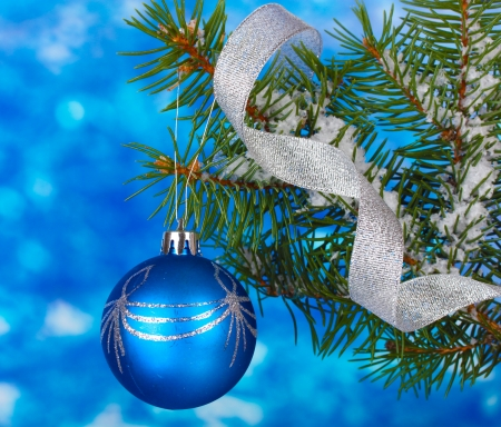 Christmas ball on the tree on blue photo