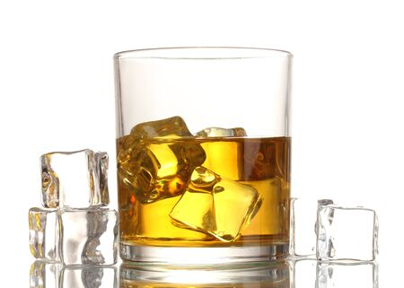 glass of whiskey and ice isolated on white photo