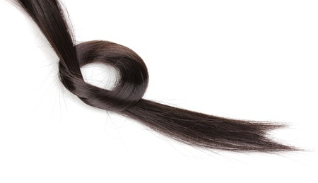 Glanzend bruin haar op wit wordt geïsoleerd Stockfoto